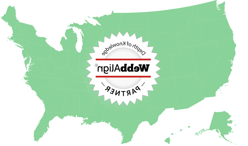 Green outline of the U.S. with a WebbAlign Partner badge.