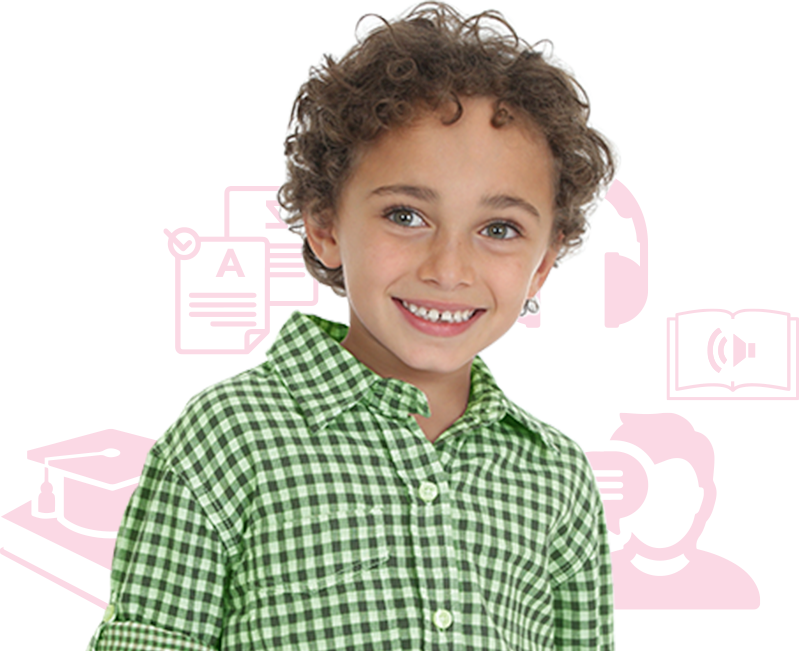 Child smiling with pink clip art images in background.