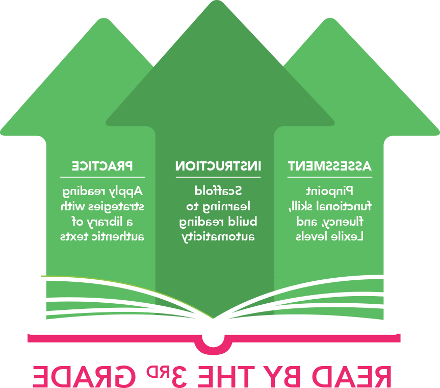 Three green arrows pointing upwards. First arrow says Assessment: Pinpoint functional skill, fluency, 和 Lexile levels. Second arrow says Instruction: Scaffold learning to build reading automaticity. Last arrow sayd Practice: 应用 reading strategies with a library of authentic tests. Below the arrows, pink text reads read by the third grade.